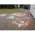 Rangoli designs can be simple geometric shapes.