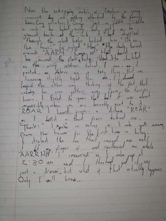 KP-I love that you have written a short story to describe it! Great SPAG & alliteration.