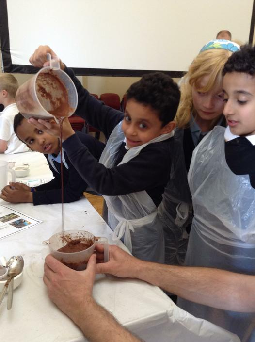 Making traditional Mayan hot chocolate.