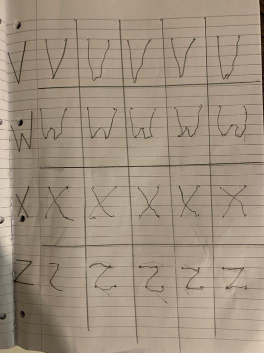 Each line has at least 1 perfect letter, well done!