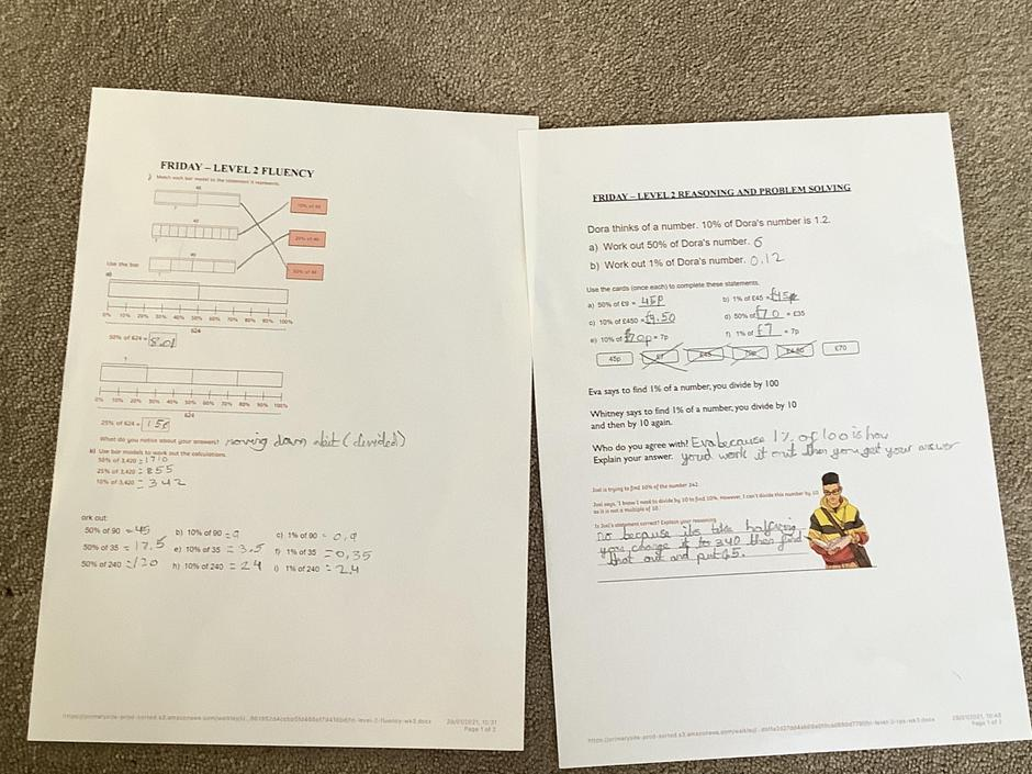 AG- Great fluency and reasoning today! Check the working out of question 2 bar models.