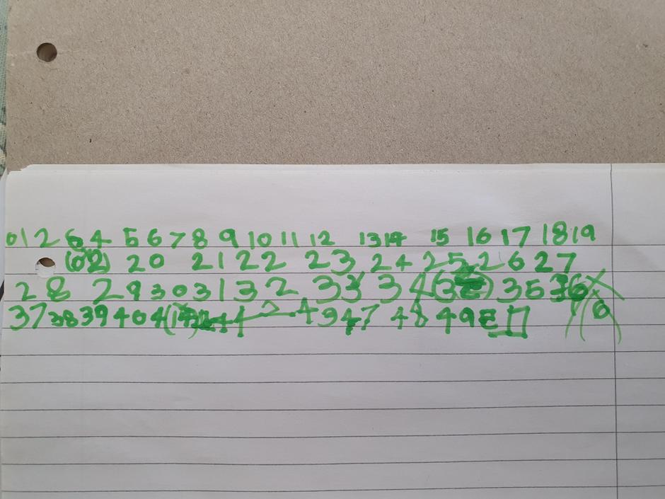 Great counting to 50, keep a space between each number.
