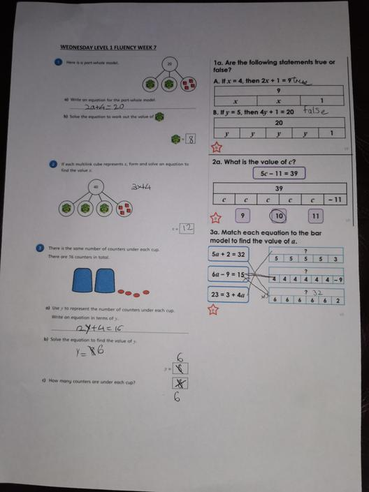 EW- Fantastic understanding of 2 step equations. All correct!