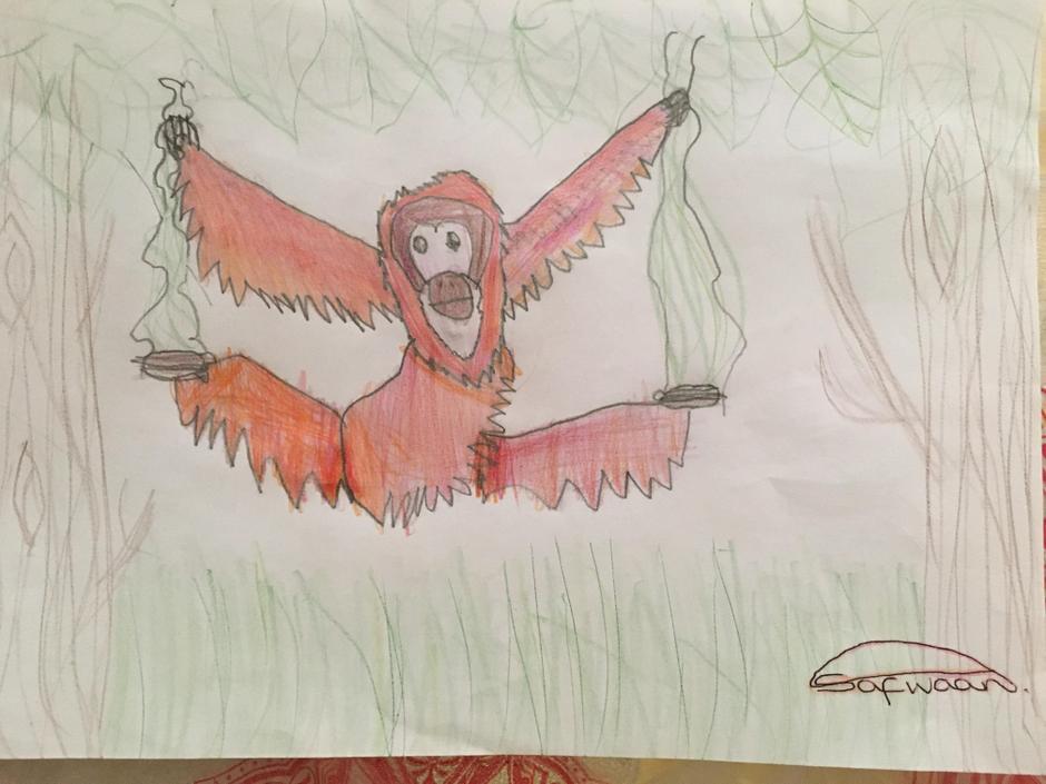 I love how the orangutan is swinging across the trees!