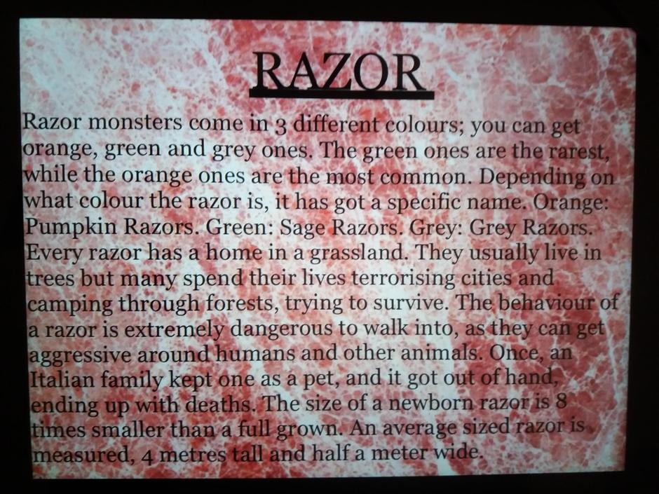 XS- Very informative! Great use of punctuation! I wouldn't want to see a Razor!