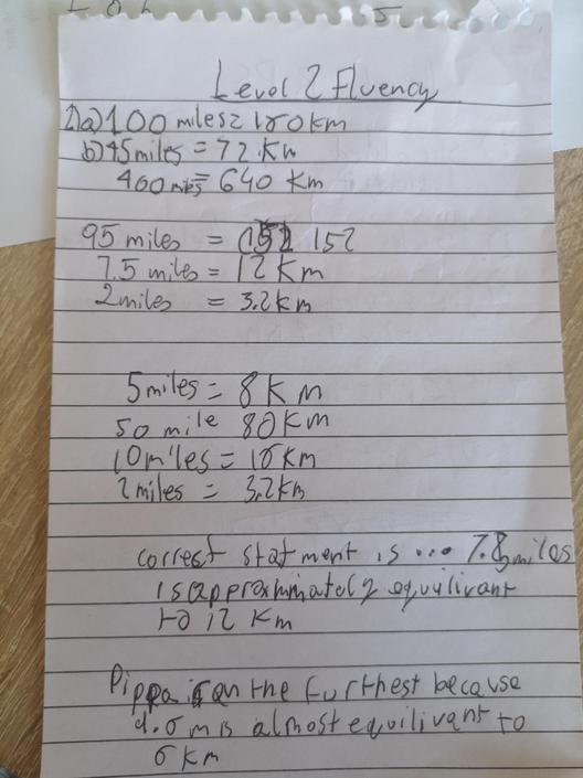 DB- Great calculations of miles and km! Well done!