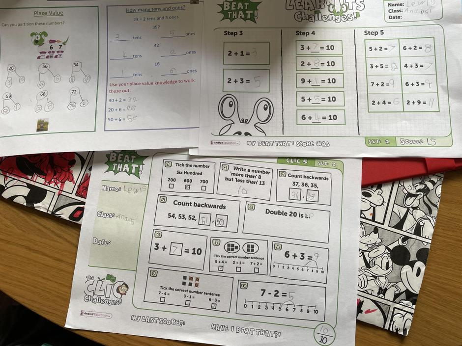 What a storming maths day! Homework, CLIC and Learn-its all correct.