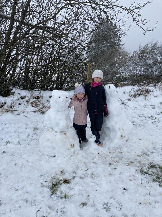 Our snow family created by Mrs Leverton, Annie and Esme in the sledging field.