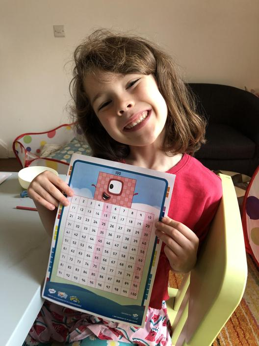 Someone's happy about counting in 5s!