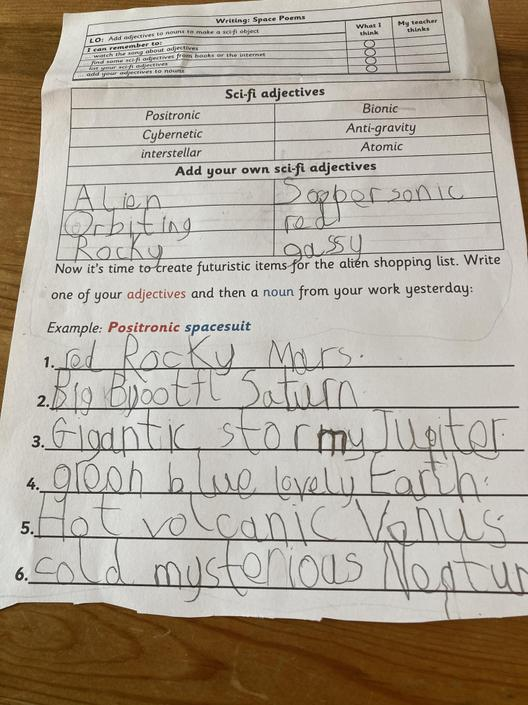 Good job. Remember we are thinking of an alien shopping list. Spacey adjective with a noun