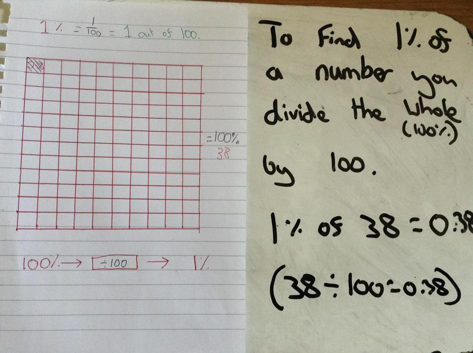 To find 1%, you divide the whole by 100.