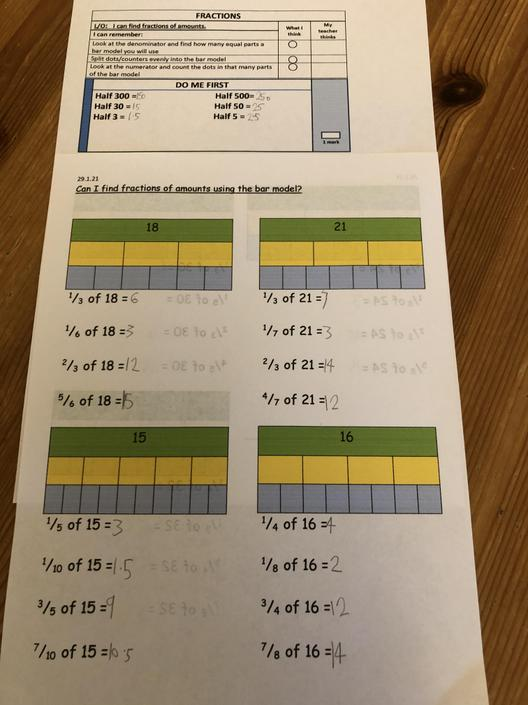 Good Work! Did you use the bar model to help you find a fraction of an amount?