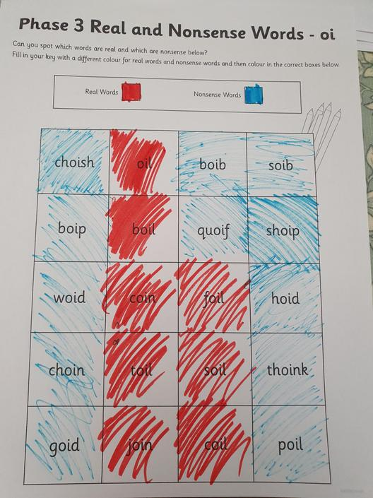 Great sorting of real and nonsense words.