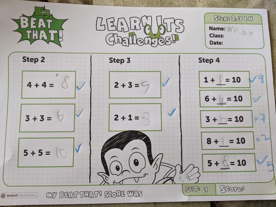 Great work, practise your number bonds to ten for speed!