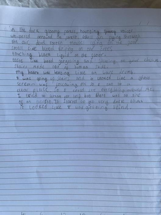 AT-Great use of senses in your writing! Nice simile used as well! So creepy! Well done!