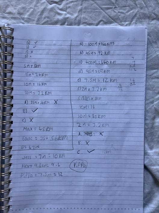 AT- Great calculations of miles and km! I can tell your notes have helped you!