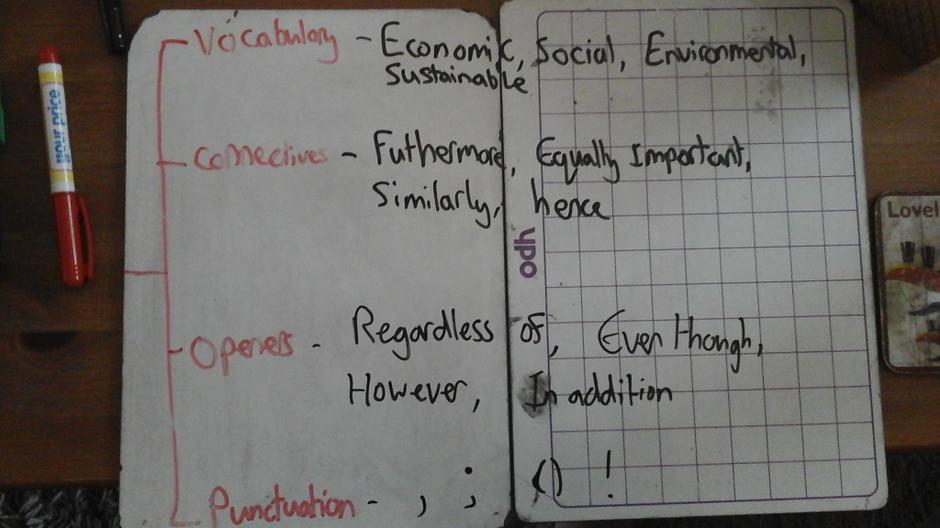 Vocabulary, connectives, openers, punctuation