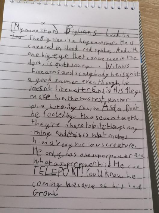 DB- A detailed description of what it looks like! Great punctuation & vocabulary!