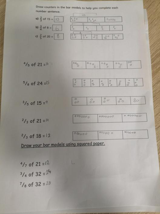 Whizzy Maths - You've used the bar model to show your understanding of the method.