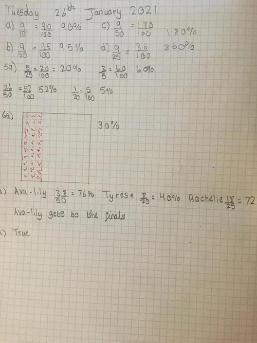 SA - good work! Remember to multiply both parts of the fraction by the same number.