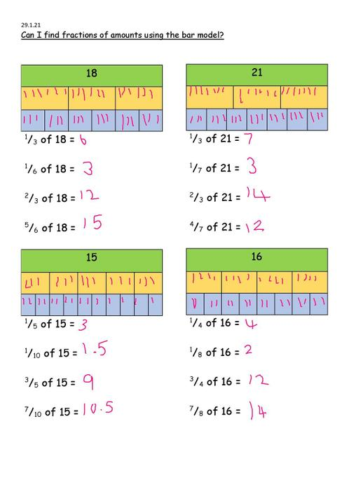 You can equally share a number using dots in a bar model- You've used this method well.