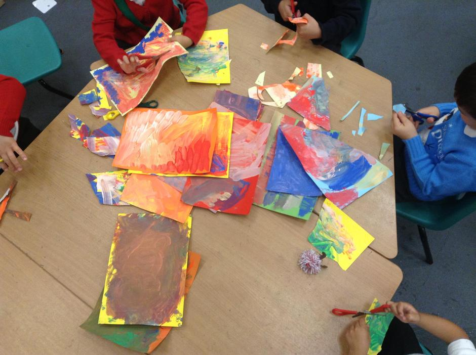 Eric Carle style painted paper made by seashells