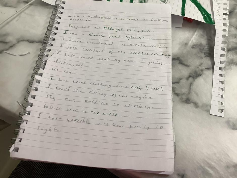 Well done for using different senses to describe what was happening.