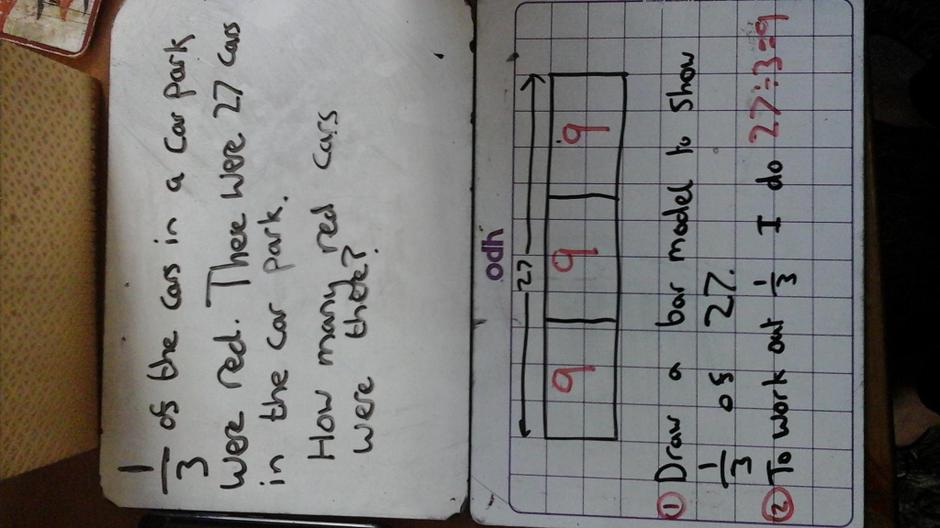 I calculate 1/3 using 27 ÷ 3 = 9