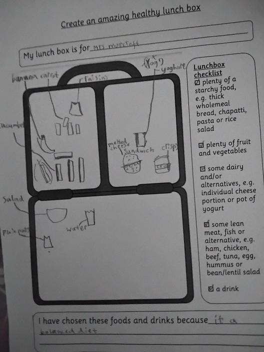 What a delicious and healthy looking lunch box with Miss Morecroft's favourite foods.