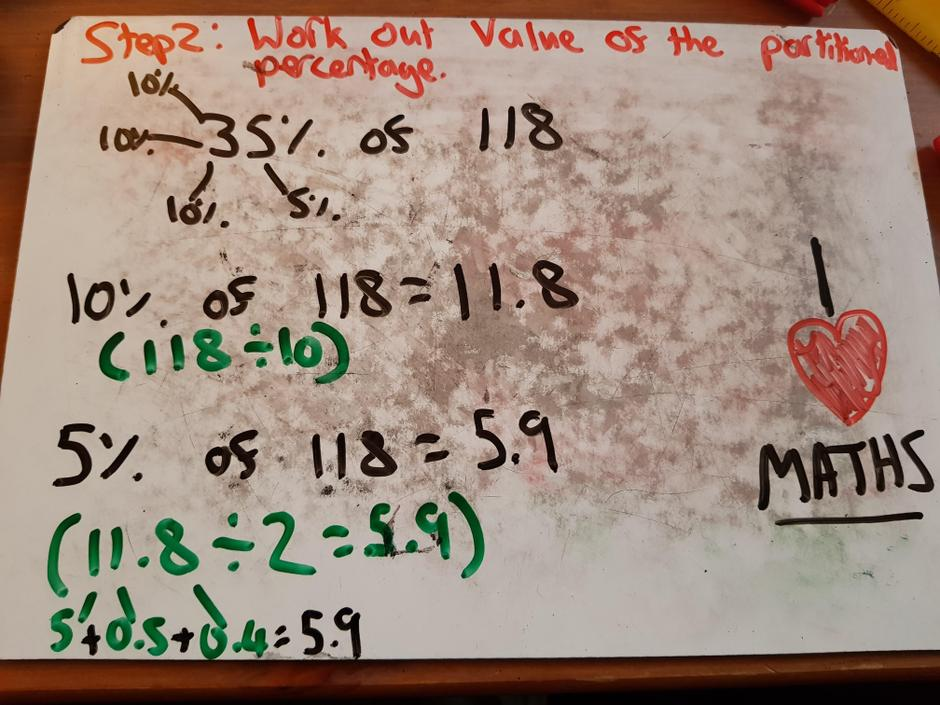 Work out the value of each partitioned percentage