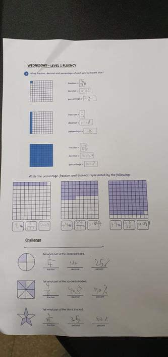 IL- Great fluency work! Check your decimals at the bottom. 1/2 = 50% so as a decimal=0.5