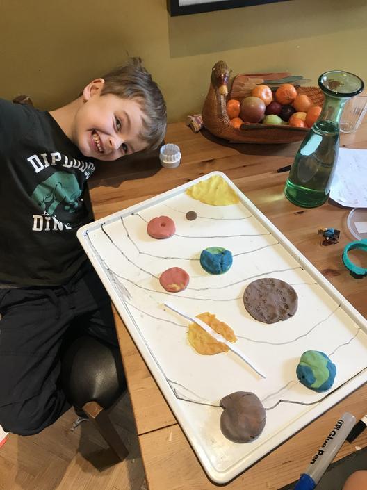 A fantastic play-dough solar system