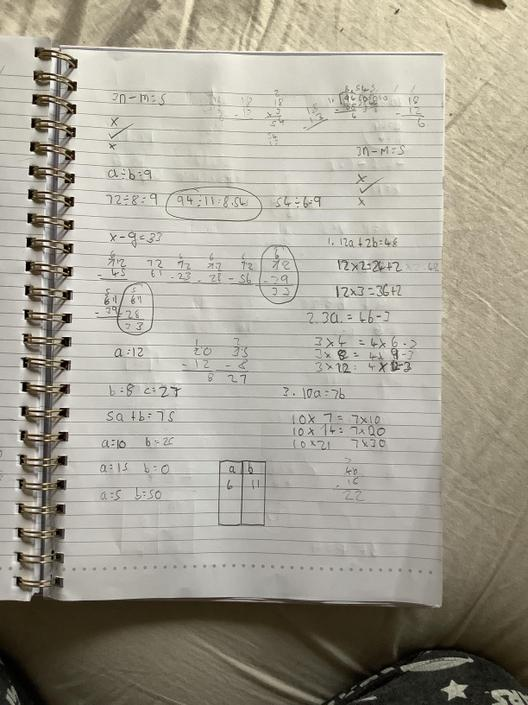 AT- More good algebra! Good job at using a table to write down the possible values!