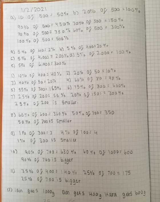 SA - beautifully presented calculations