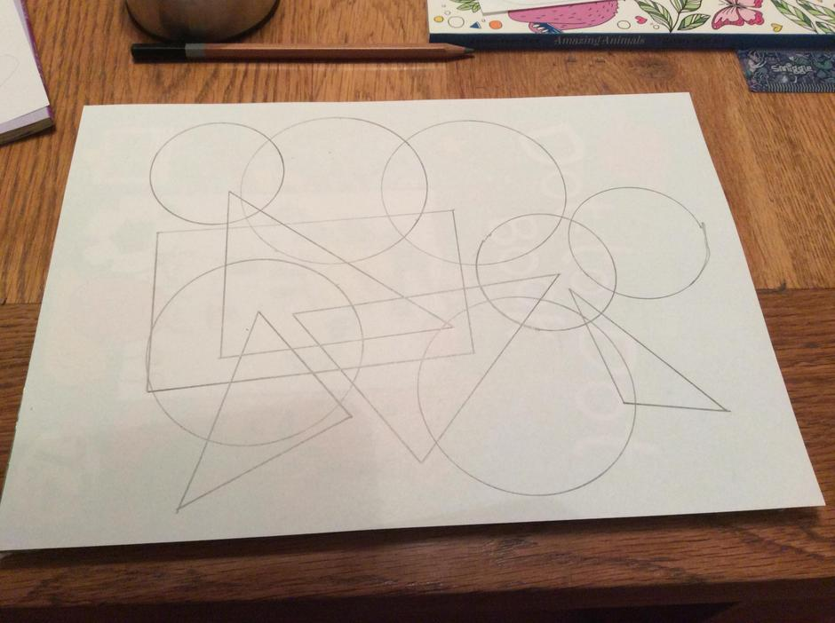 Once you have drawn around a number of shapes, you will have a design similar to this.
