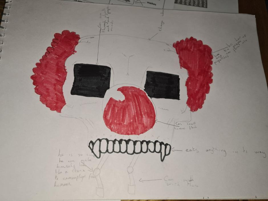KP- Great ideas for your monster! I like how it has so many powers!