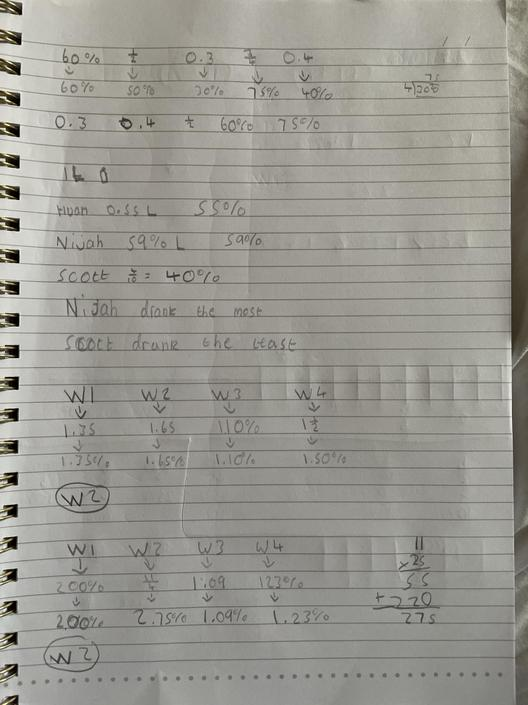 AT- Very impressive! Great understanding of fractions, decimals and percentages.