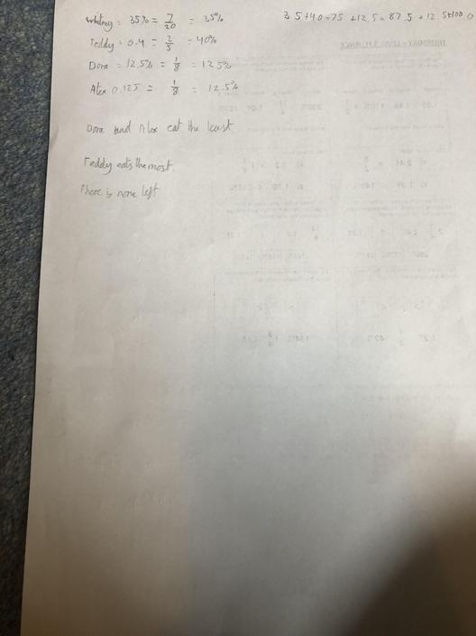 EF- Impressive knowledge of fractions, decimals and percentages!