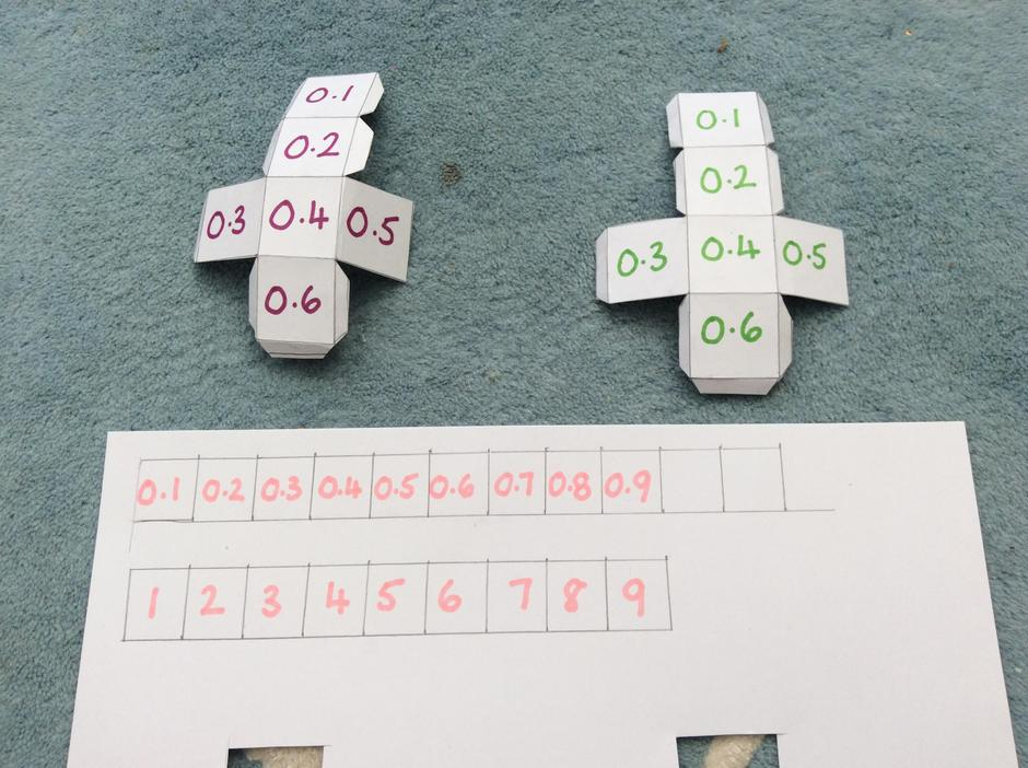 You need two dice plus 1-9 or 0.1-0.9 digit cards