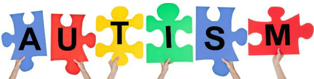 Hands holding jigsaw pieces which spell out Autism
