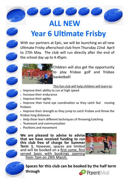Year 6 Ultimate Frisby