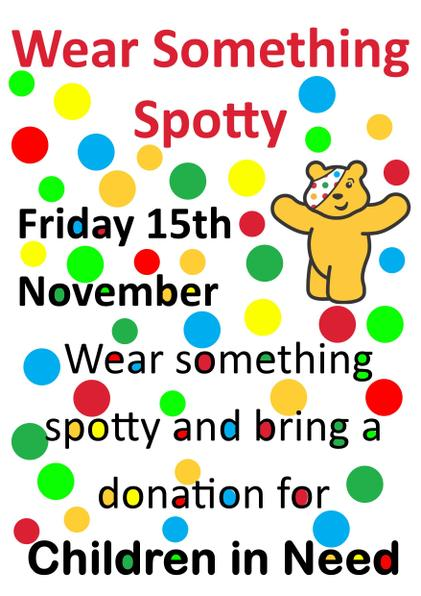 Wear something spotty on Friday 15 November and make a donation to Children In Need