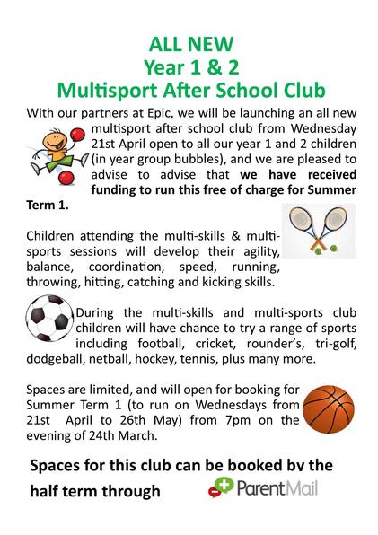 Year 1 and 2 Multisport