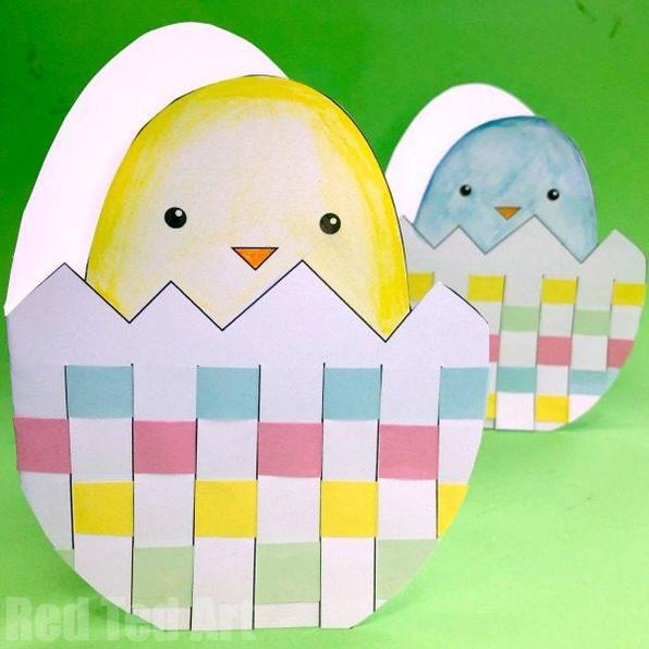 Woven Easter chick card