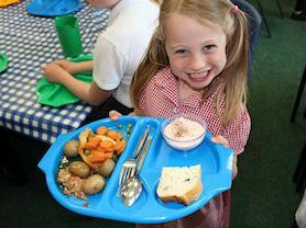 We have special trays so that we can carry our lunch to our table.