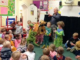 Beech Class with their puppets.