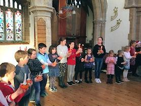 Reflection time with our Christingle candle.