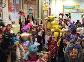 The whole school raising money for Children in Need.