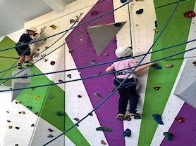 Spider kids climbing high.
