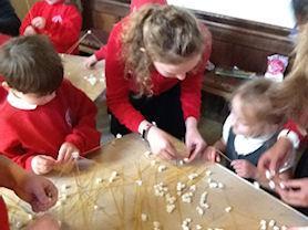 Making marshmallow towers.